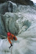Colin Monteath - Ice climber on steep ice in Fox Glacier crevasse near Victoria Falls, Westland National Park, South Island, New Zealand