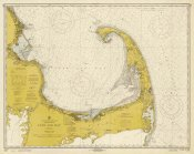 NOAA Historical Map and Chart Collection - Nautical Chart - Cape Cod Bay ca. 1970 - Sepia Tinted