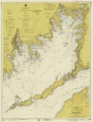 NOAA Historical Map and Chart Collection - Nautical Chart - Buzzards Bay ca. 1974 - Sepia Tinted