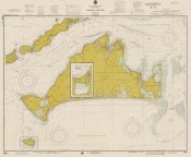 NOAA Historical Map and Chart Collection - Nautical Chart - Marthas Vineyard ca. 1975 - Sepia Tinted