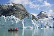 Tui De Roy - Tourists at glacier, southern Greenland Fjords, Prins Christian Sound, Greenland
