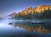 Tim Fitzharris - Teewinot Mountain reflected in misty lake, Grand Teton NP, Wyoming