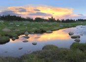 Tim Fitzharris - Clouds and sunset reflected in stream, Hellroaring Plateau, Montana