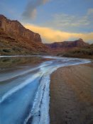 Tim Fitzharris - Ice on the Colorado River beneath sandstone cliffs, Cataract Canyon, Utah