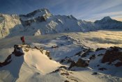 Colin Monteath - Mt Sefton climber above Mueller Glacier and hut, Mt Cook NP, New Zealand