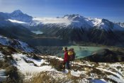 Colin Monteath - Mueller Glacier Terminal Lake, hiker viewing Aoraki, Mt Cook NP, New Zealand