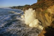 Harley Betts - Swells at high tide against sandstone cliffs, Tongaporutu, New Zealand