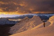 Grant Dixon - Hiker at sunset on Chinchey Massif, Cordillera Blanca, Peru