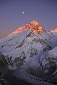 Grant Dixon - Moon over summit of Mount Everest and Khumbu Glacier, Sagarmatha NP, Nepal