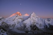 Grant Dixon - Moon over summit of Mount Everest, Lhotse, and Nuptse, Sagarmatha NP, Nepal