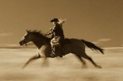 Konrad Wothe - Cowgirl on Horse running through field, Oregon - Sepia