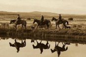 Konrad Wothe - Cowboys and a cowgirl riding Horses beside pond, Oregon - Sepia