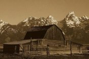 Pete Oxford - Cunningham Cabin in front of Grand Teton Range, Wyoming - Sepia