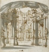 Filippo Juvarra - The Courtyard of a Palace: Project for a Stage, 1713