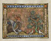 Franco-Flemish 13th Century - A Dragon Charging Two Doves (detail)