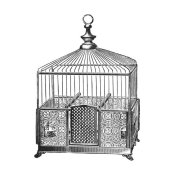 Catalog Illustration - Etchings: Birdcage - Pyramidal top, patterned base.