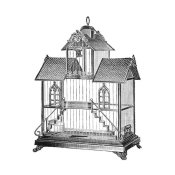 Catalog Illustration - Etchings: Birdcage - Victorian house with steps.