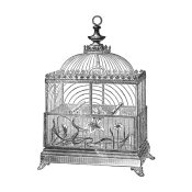 Catalog Illustration - Etchings: Birdcage - Dome top, floral base, filigree detail.
