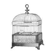 Catalog Illustration - Etchings: Birdcage - Gable top, filigree base.