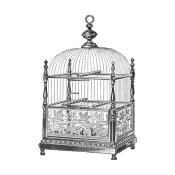 Catalog Illustration - Etchings: Birdcage - Dome top, spindle corners, vine detail base.