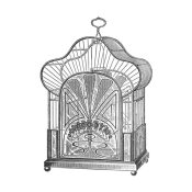 Catalog Illustration - Etchings: Birdcage - Palmate top, forget-me-not detail.