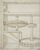 Francesco di Giorgio Martini - Folio 40: mill with horizontal water wheel
