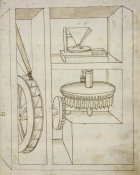 Francesco di Giorgio Martini - Folio 40: mill with overshot water wheel