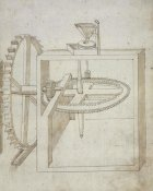 Francesco di Giorgio Martini - Folio 22: mill powered by undershot water wheel