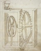 Francesco di Giorgio Martini - Folio 14: mill with undershot water wheel