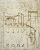 Francesco di Giorgio Martini - Folio 10: piston pumps and water wheel