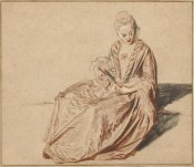 Jean-Antoine Watteau - Seated Woman with a Fan