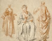 Jean-Antoine Watteau - Studies of Three Women