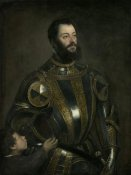 Titian (Tiziano Vecellio) - Portrait of Alfonso d'Avalos, Marchese del Vasto, in Armor with a Page