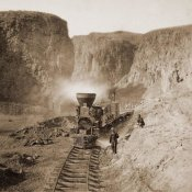 Alfred A. Hart - First Construction Train passing the Palisades, Ten Mile Cañon, Nevada, 1866-1869