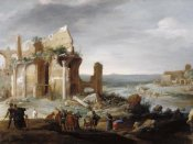 Bartholomeus Breenbergh - Moses and Aaron Changing the Rivers of Egypt to Blood