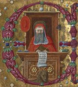 Unknown 15th Century Italian Illuminator - Initial E:  Saint Jerome in His Study