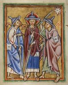 Unknown 12th Century English Illuminator - The Road to Emmaus