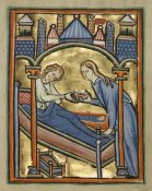 Unknown 12th Century English Illuminator - The Birth of the Virgin