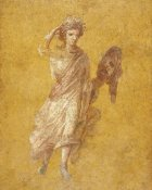 Unknown 1st Century Roman Artisan - Fragment of a Yellow Fresco Panel with Muse