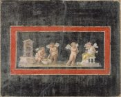 Unknown 1st Century Roman Artisan - Fresco Fragment with Cupids and Psyche Making Perfume