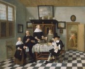 Attributed to Quiringh Gerritsz van Brekelenkam - Family Group in an Interior