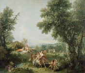 Francesco Zuccarelli - Landscape with the Education of Bacchus