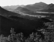 Ansel Adams - Valley surrounded by mountains,  in Rocky Mountain National Park, Colorado, ca. 1941-1942