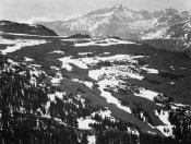 Ansel Adams - View of plateau, snow covered mountain in background, Long's Peak,  in Rocky Mountain National Park, Colorado, ca. 1941-1942