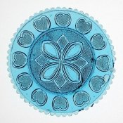 Unknown 19th Century American Glassmaker - Blue Pressed Glass Plate