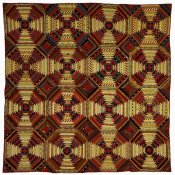 Unknown 19th Century American Needleworker - Quilt, 'Log Cabin' Pattern, 'Pineapple' variation