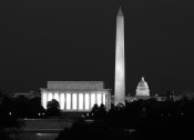 Carol Highsmith - Our treasured monuments at night, Washington D.C. - Black and White Variant