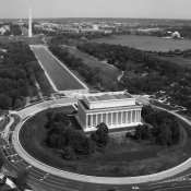 Carol Highsmith - Aerial of Mall showing Lincoln Memorial, Washington Monument and the U.S. Capitol, Washington, D.C. - Black and White Variant