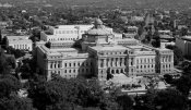 Carol Highsmith - View of the Library of Congress Thomas Jefferson Building from the U.S. Capitol dome, Washington, D.C. - Black and White Variant