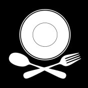 BG.Studio - Mealtime: White on Black - Plate with Crossed Cutlery
